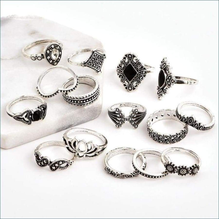 Boho Antique Vintage 15 Piece Ring Set