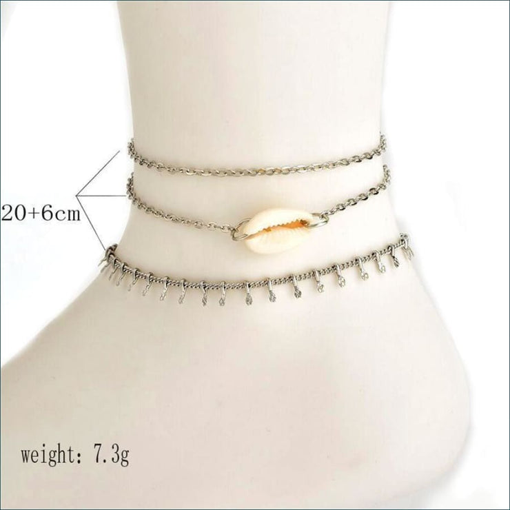 Boho Beachside Ankle Bracelet (3 Piece Set)