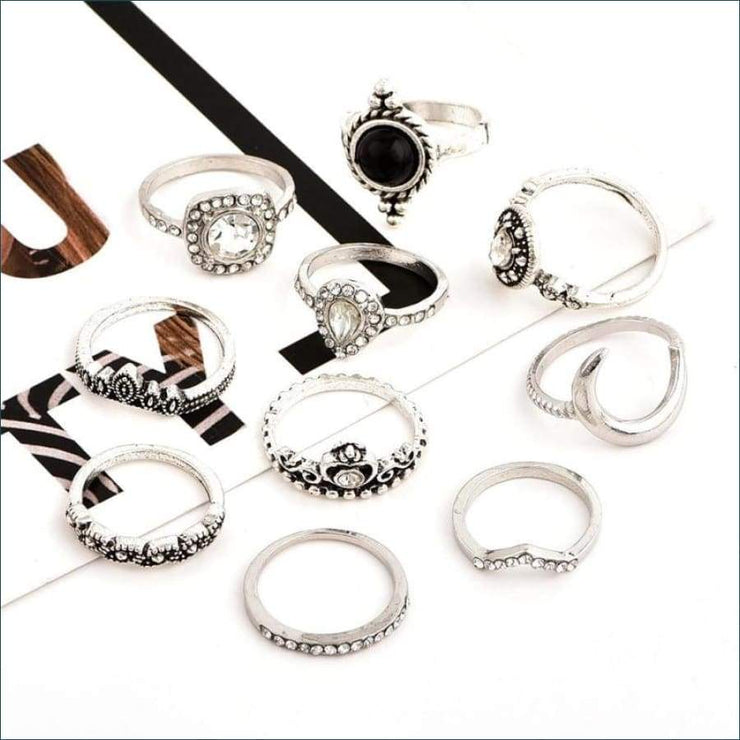 Boho Sparkles 10 Piece Ring Set
