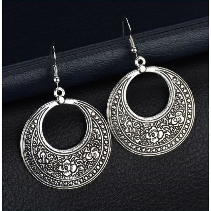 Boho Vintage Silver Plated Antique Earrings