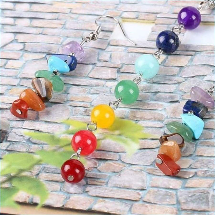 Chakra Gemstone Earrings and Necklace Set