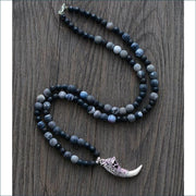 Cracked Agate Mala Bead Necklace with Dragon Tusk Pendant