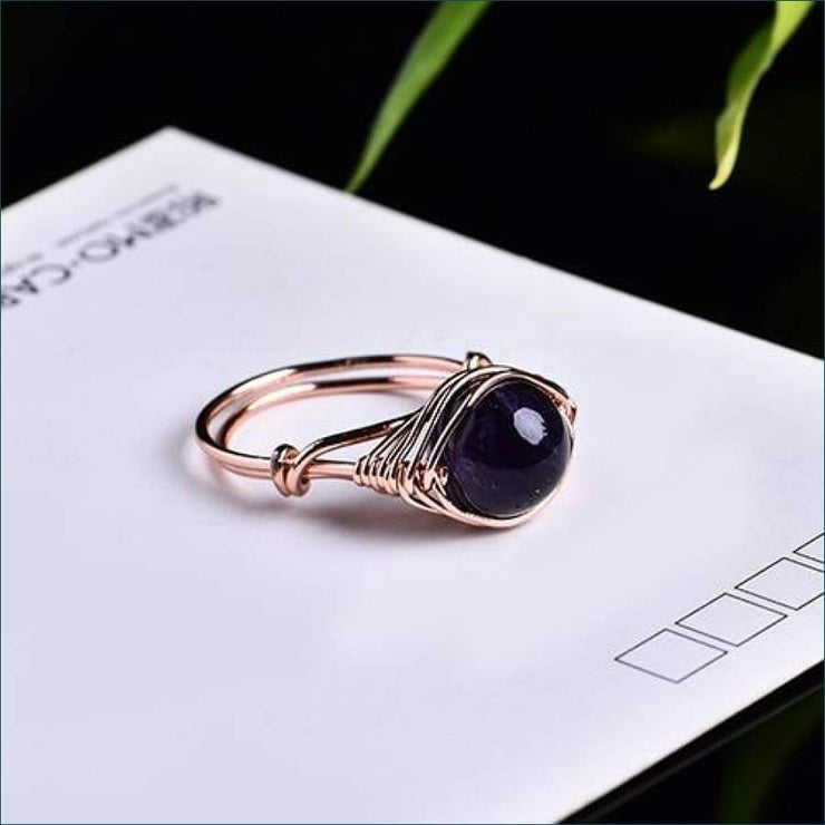 Crystal Gemstone Calming Ring Free Shipping Today Only! - Amethyst