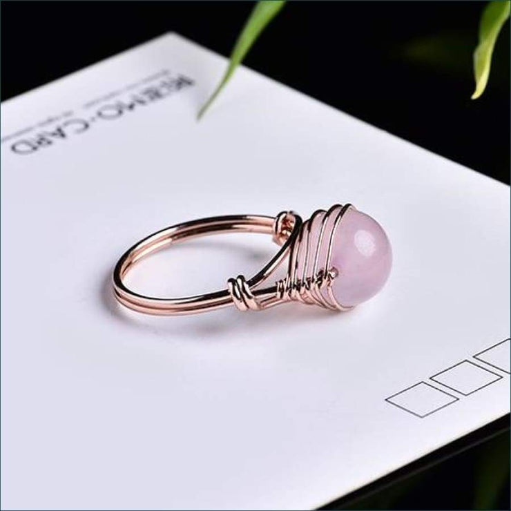 Crystal Gemstone Calming Ring Free Shipping Today Only! - Rose Quartz