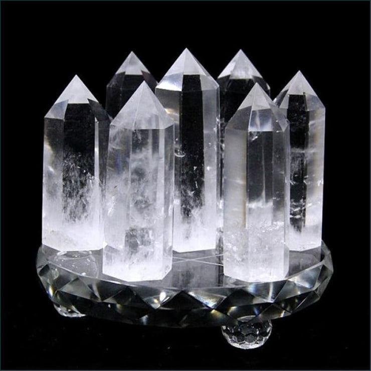 Crystal Quartz Wand Set (7 Piece Set) Includes Stand