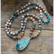 Earthvibe Jasper Mala Bead Necklace with Jasper Pendant