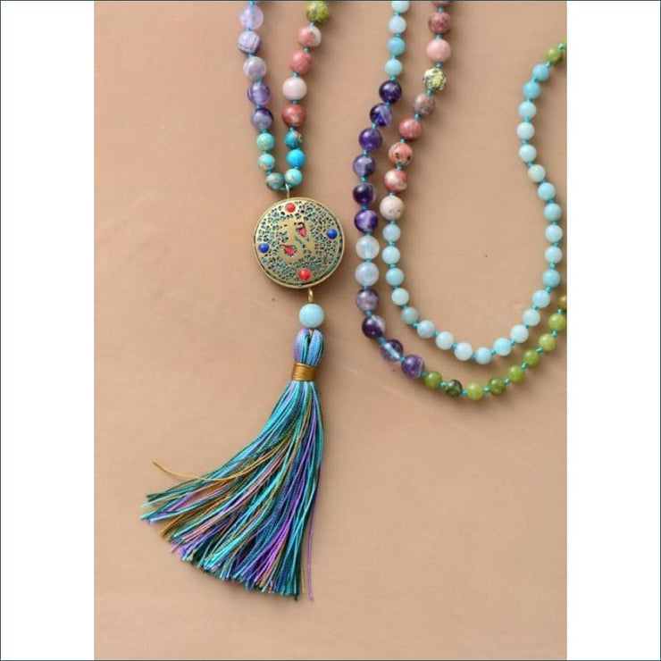 Earthvibe Mala Bead Mixed Gemstone Necklace with Tassel