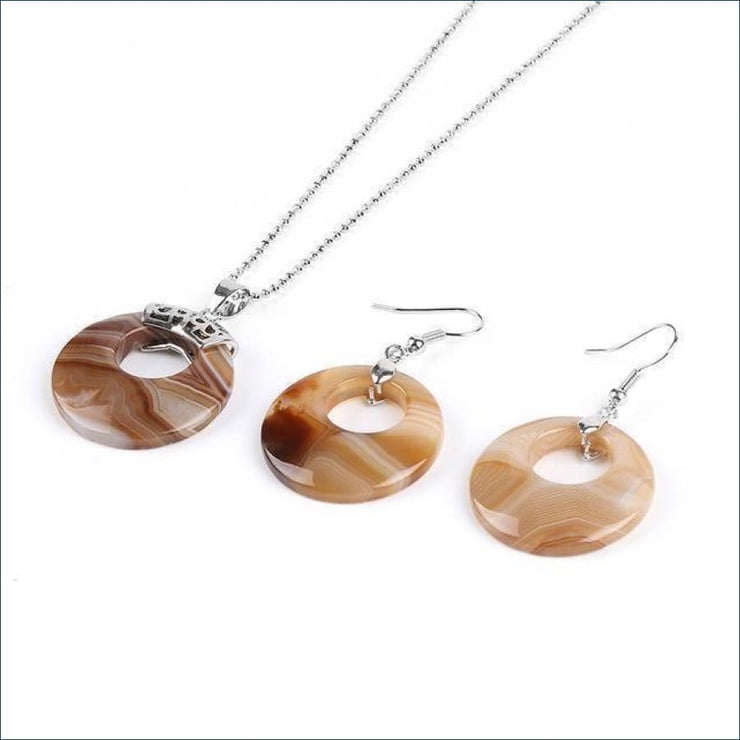 Gemstone Pendant Necklace & Earring Set