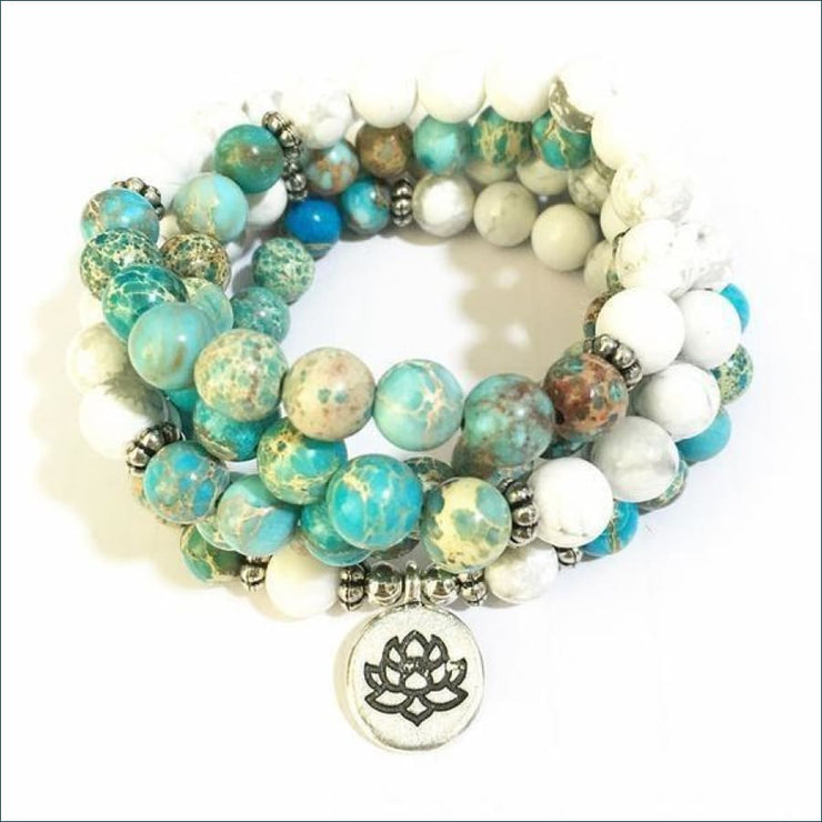 Howlite Mala Bead Necklace with Lotus Pendant