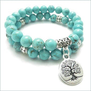 Howlite Mala Bead Necklace with Tree of Life Charm (Set of 2)