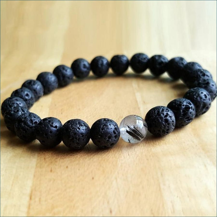 Lava Stone Mala Bead Bracelet with Rutilated Quartz Charm