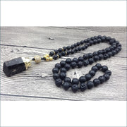 Lava Stone Mala Bead Necklace with Black Tourmaline Pendant