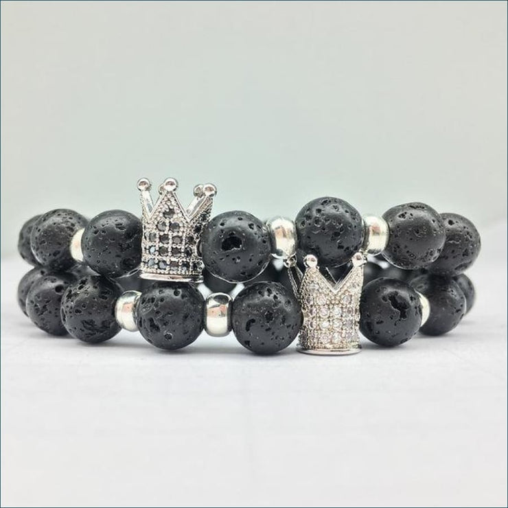Lave Stone Bracelet with Crown Charm