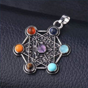Merkaba Antique Silver Chakra Pendant Necklace