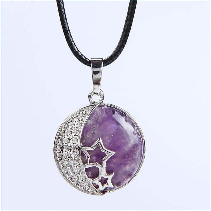 Moon And Stars Natural Gemstone Pendant(Free Promo Shipping)