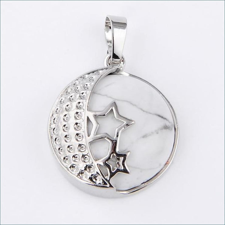 Moon And Stars Natural Gemstone Pendant(Free Promo Shipping) - Howlite
