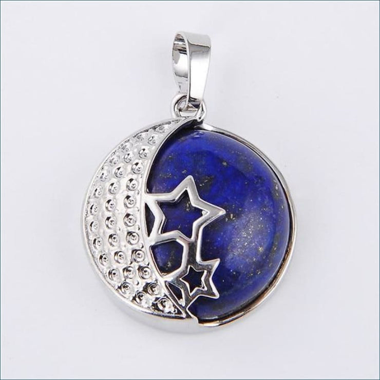 Moon And Stars Natural Gemstone Pendant(Free Promo Shipping) - Lapis Lazuli