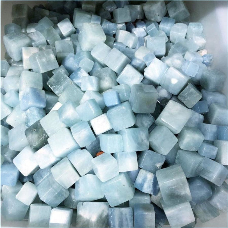 Natural Aquamarine Tumbled Cube Stones