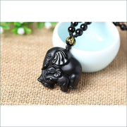Obsidian Elephant Carving Pendant Necklace