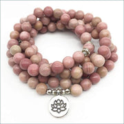 Rhodonite Mala Bead Necklace with Lotus Pendant