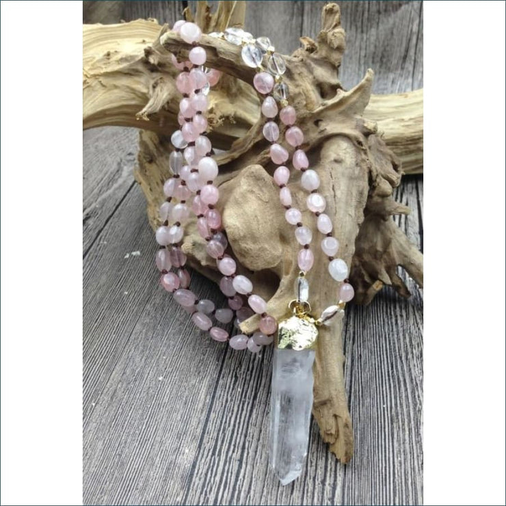 Rose Quartz Mala Bead Necklace with Crystal Quartz Pendant