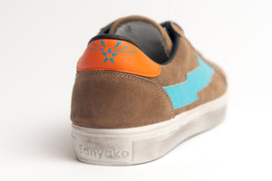 Thunderbolt Leather Brown - Light Blue