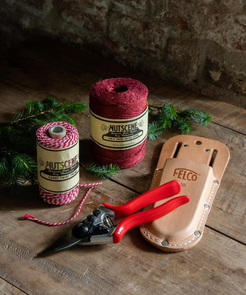 Rose care accessories - red twine, candy cane twine, Felco secateurs and holster