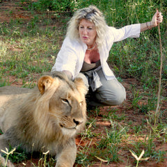 Katina Zinner with Lion in Africa