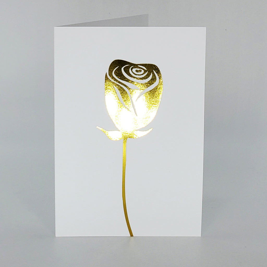 Rose d'or éternelle - 5 x 7 - Blanc