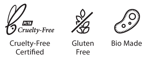 Certified Cruelty-free, Bio Made, and Gluten Free Skincare Products - Packaging Logos