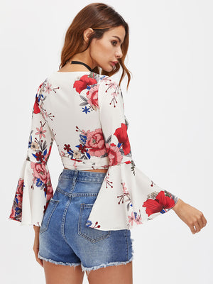 Random Florals Fluted Sleeve Tie Detail Wrap Top