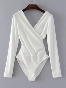 Surplice V Neckline Ribbed Bodysuit