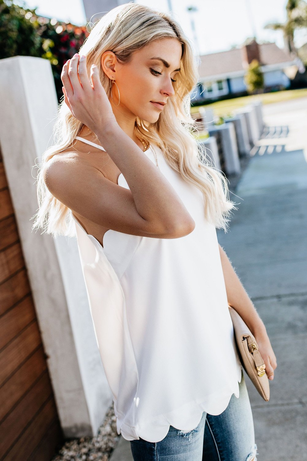 Days Like This White Scalloped Chic Tank Top