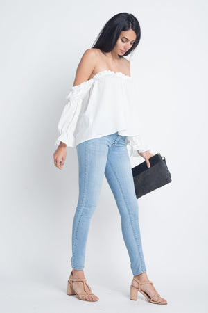 Women's Off Shoulder Ruffle Bardot Top