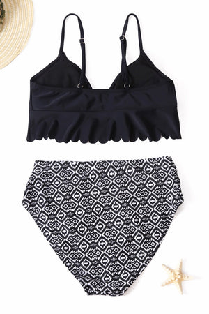 Black V-neck Scalloped Underbust High Waist Bikini