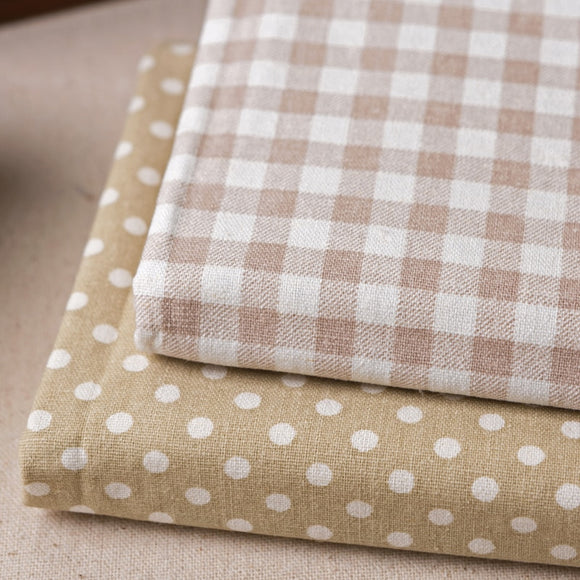 plaid and dots cotton linen fabric