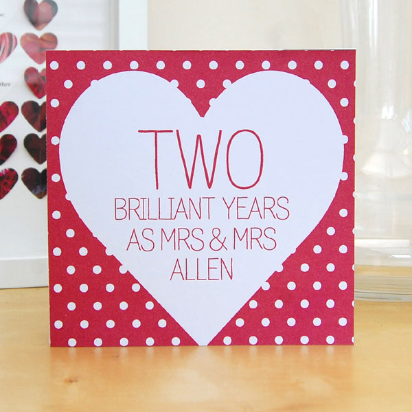 Personalised same sex lesbian anniversary card