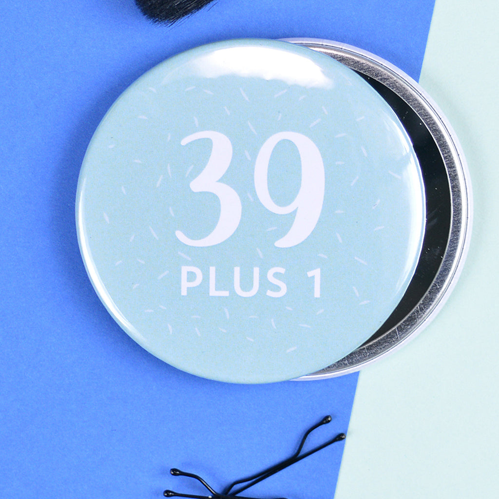 Pretty 40th Birthday Pocket Mirror Pink Turquoise