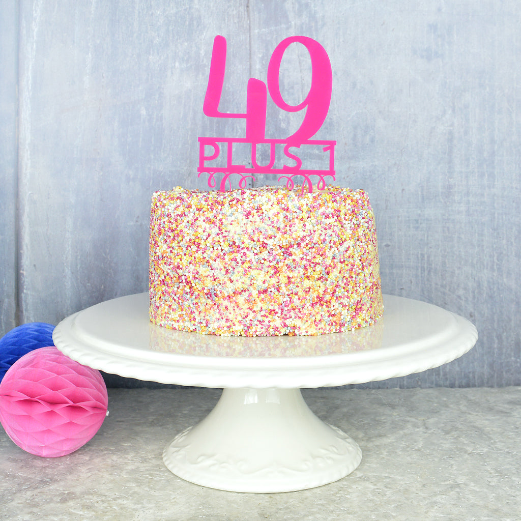 50th Birthday Cake Topper Pink Turquoise