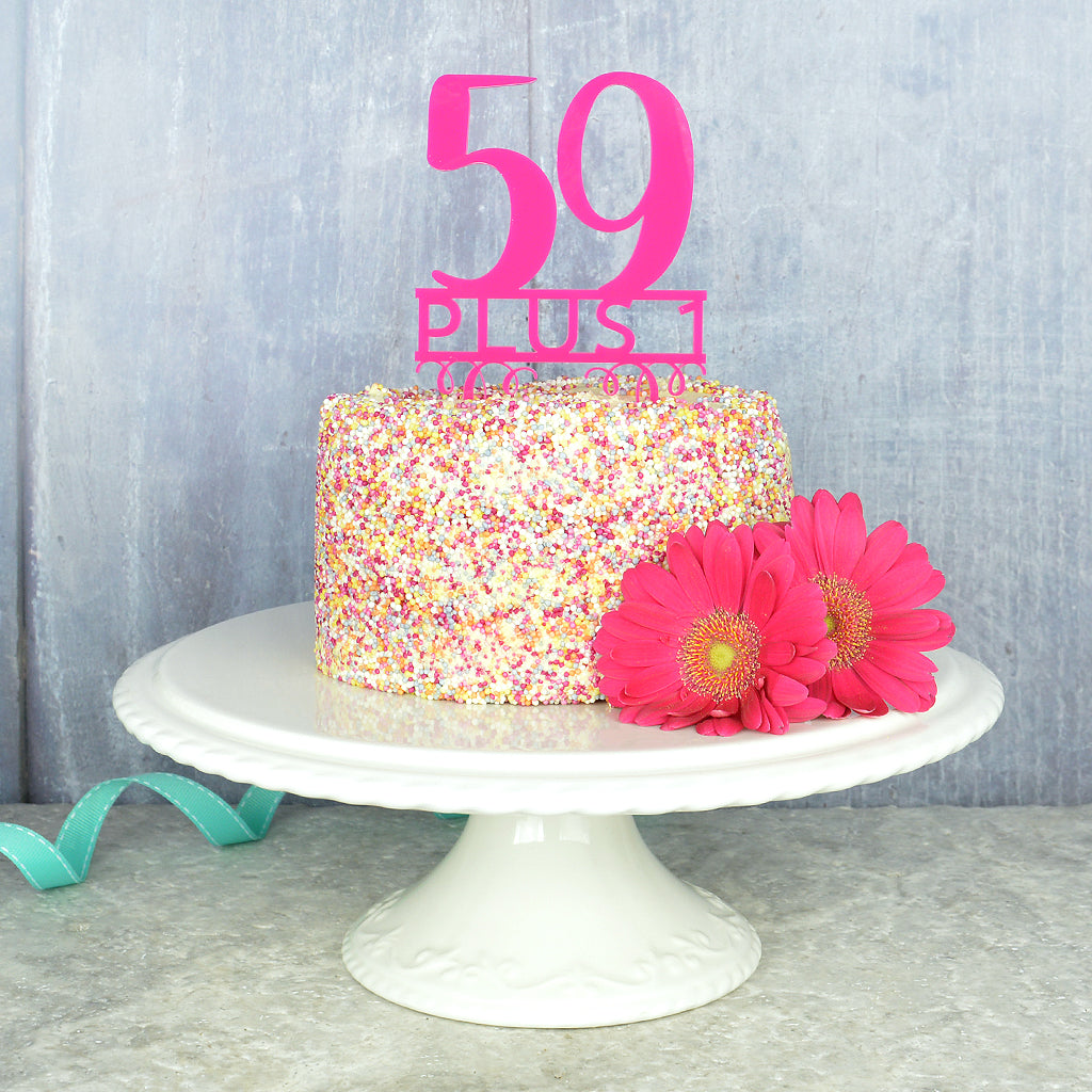 60th Birthday Cake Topper Pink Turquoise