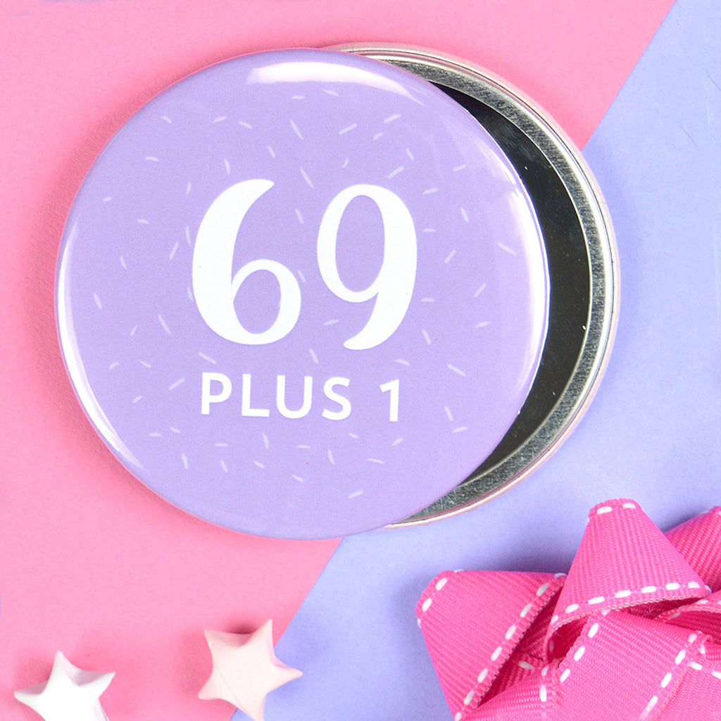 Pretty 70th birthday pocket mirror