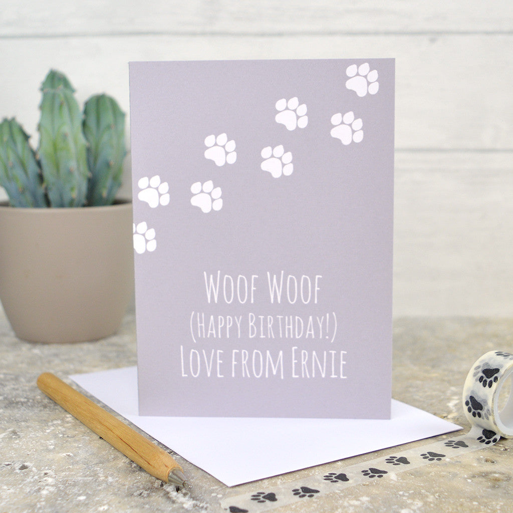 Dog Birthday Card Personalised From The