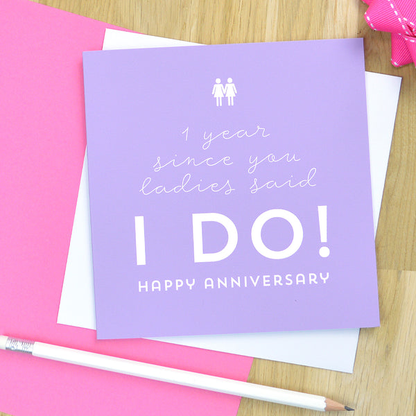Same sex lesbian anniversary card for female couple