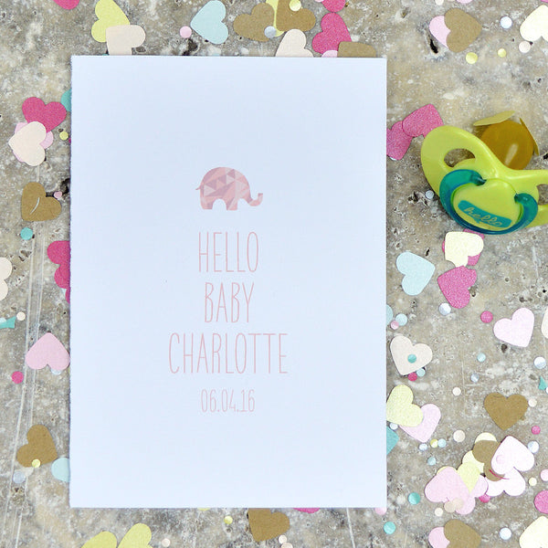 Personalised New Baby Card With Elephant Detail