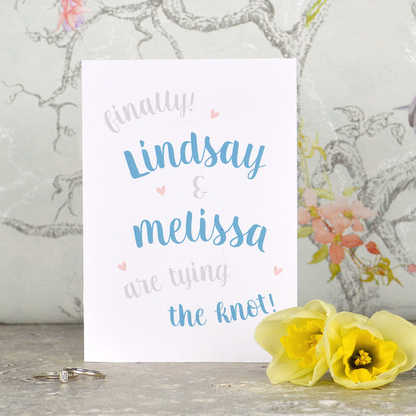 Mrs & Mrs same sex 'Tie The Knot' Wedding card