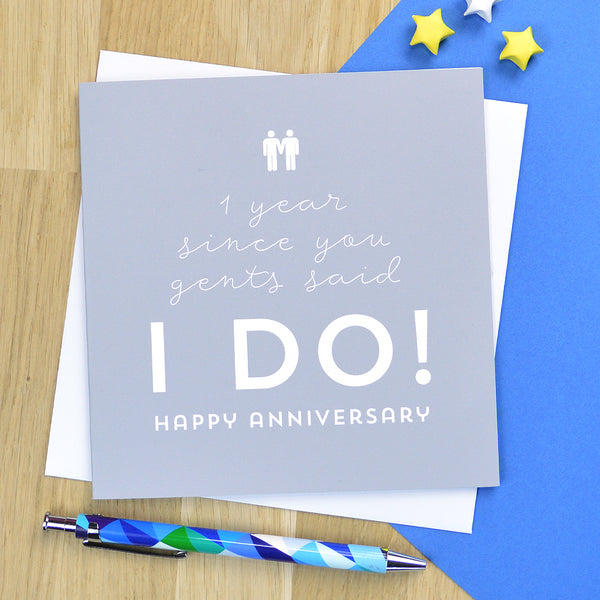 Same sex gay anniversary card for male couple