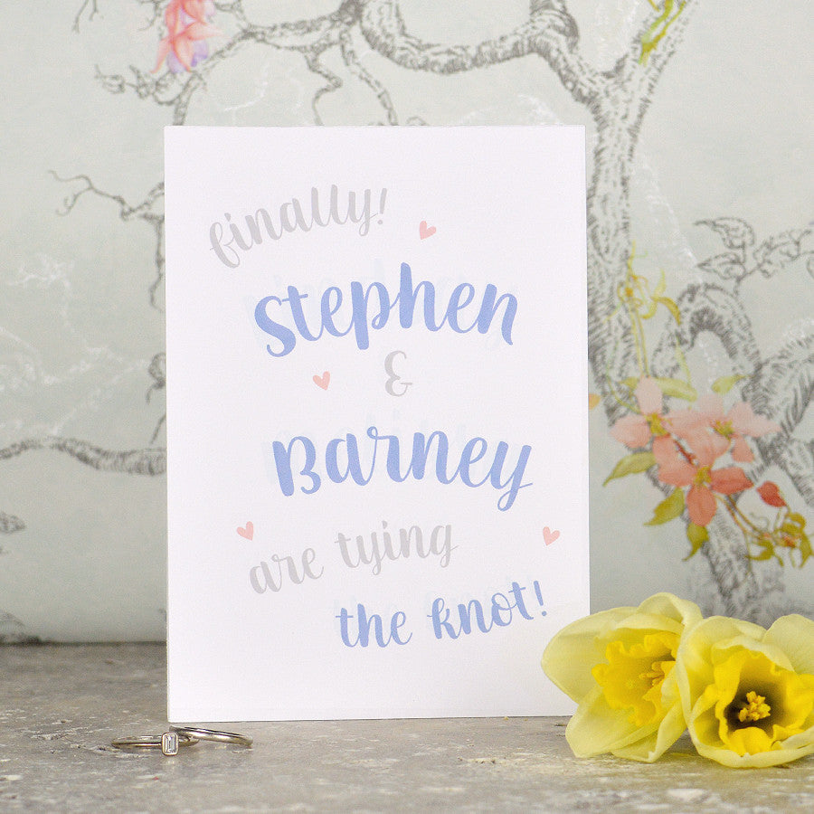 Mr & Mr same-sex wedding card  'Tie The Knot'
