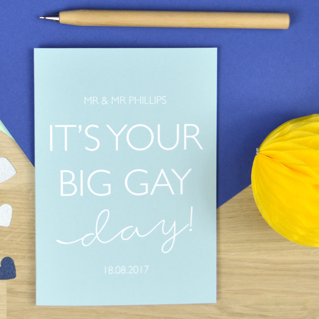 Personalised 'Big Gay Day' wedding card for gay couple