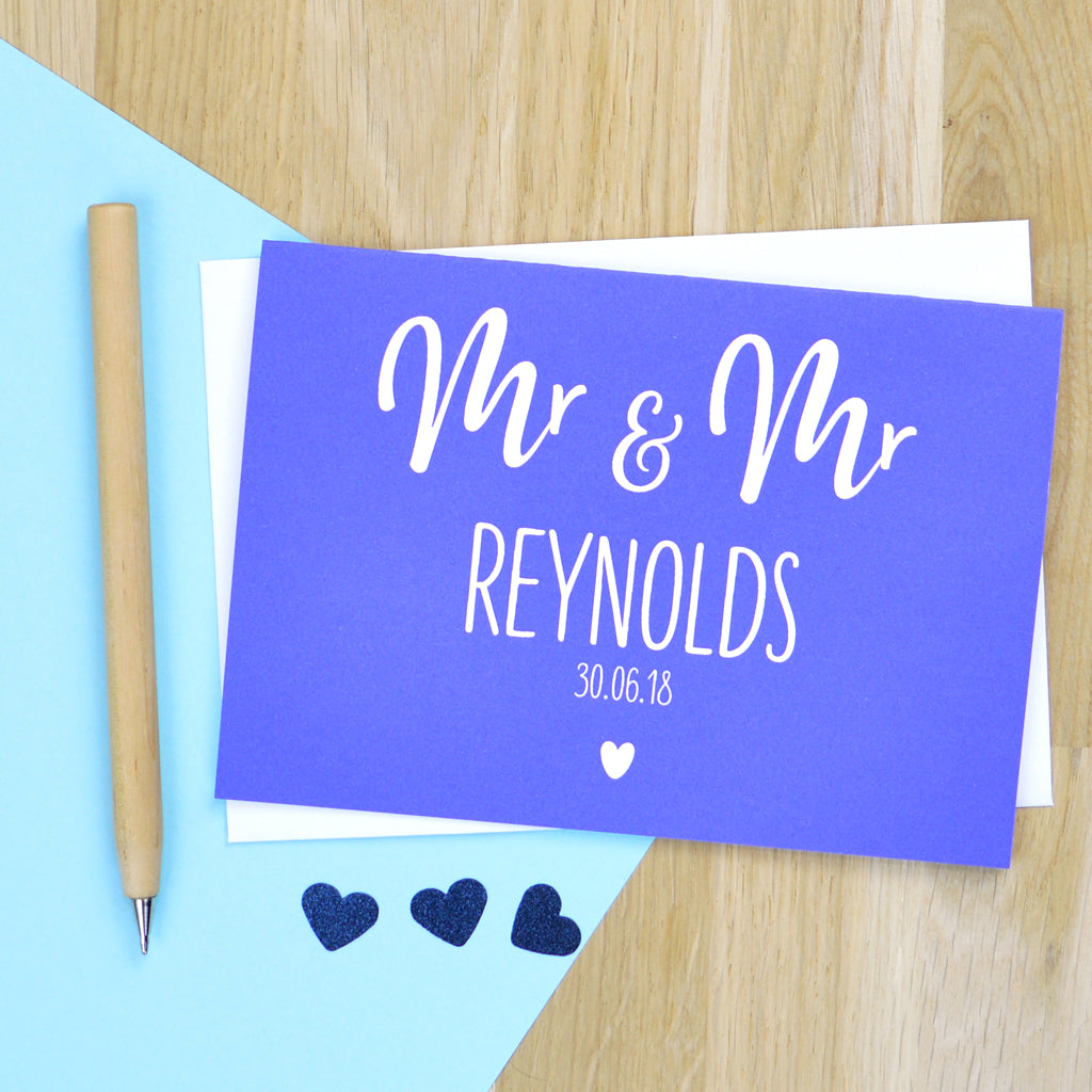 Personalised same-sex wedding card for gay couple - bold