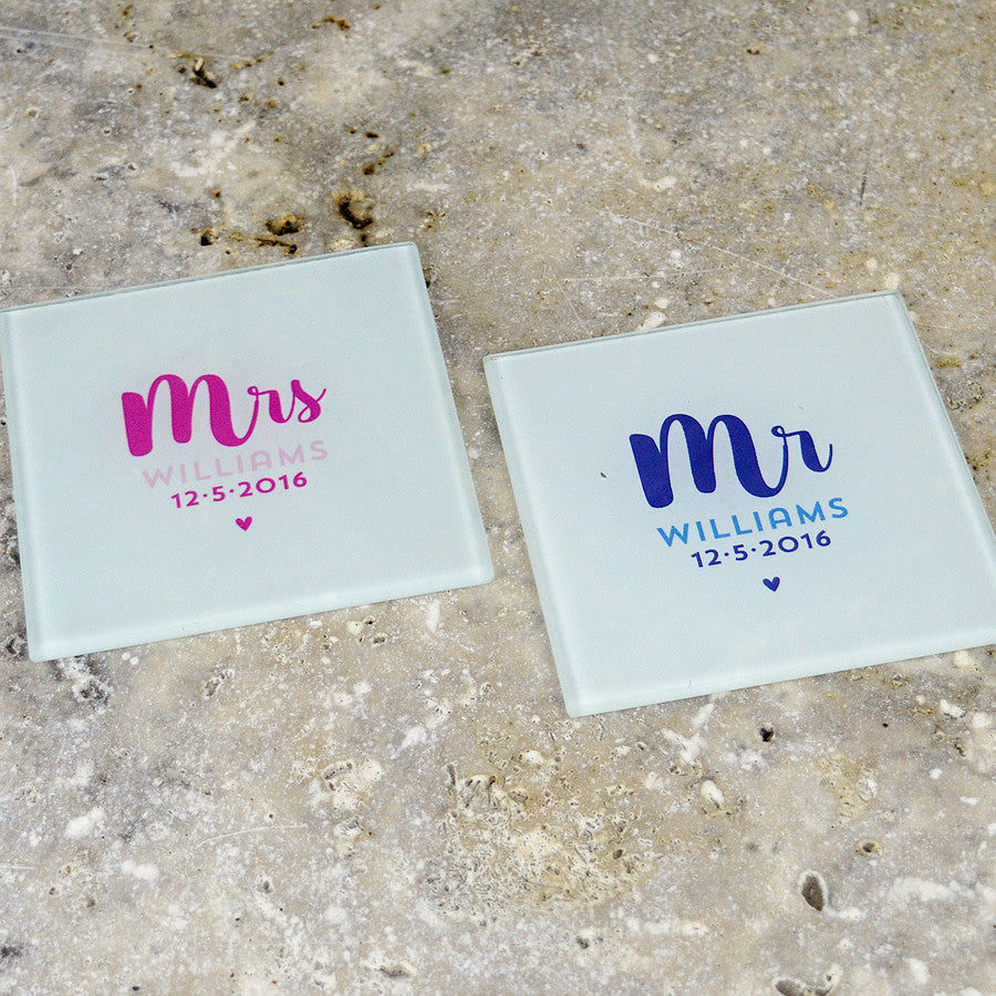 mr and mrs gifts, wedding gifts, glass coasters